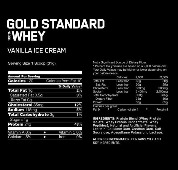 Gold Standard 100% Whey, Vanilla Ice Cream
