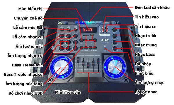 bảng điều khiển loa kéo jba a-6c