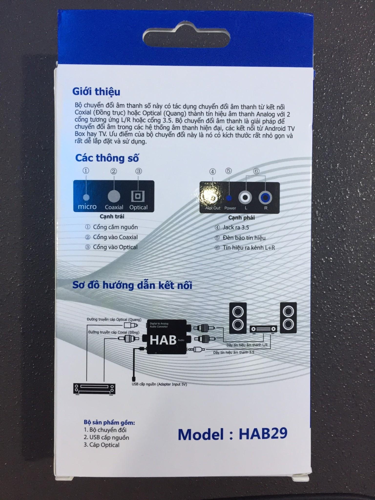Bộ Chuyển đổi Optical ra RCA (AV) HAB