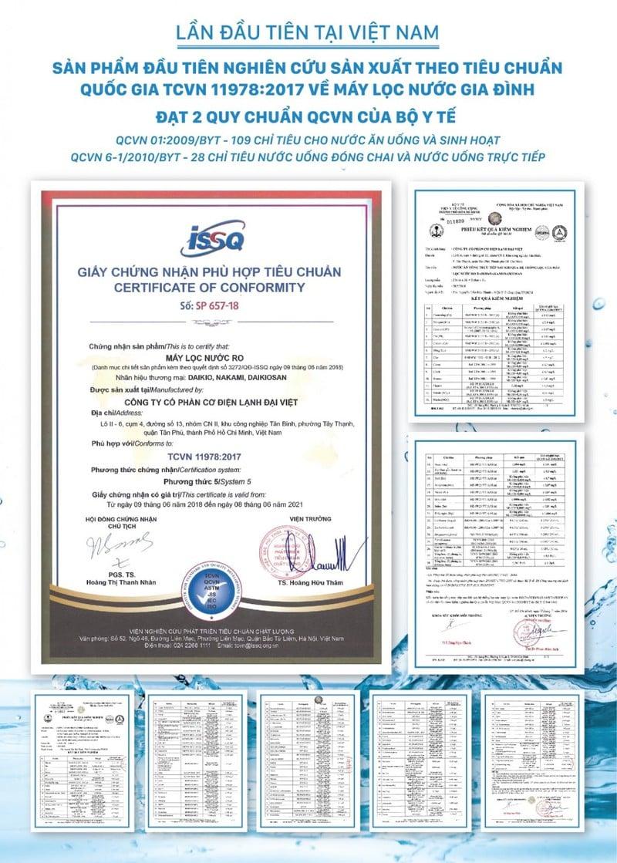 giấy chứng nhận chất lượng nước uống