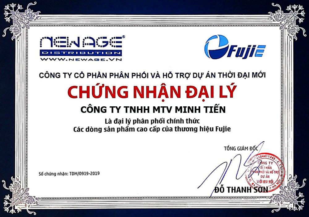 giấy chứng nhận đại lý phân phối Fujie newage chính hãng