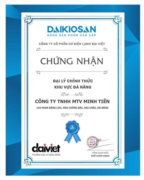 giấy chứng nhận máy lọc nước chính hãng Daikiosan