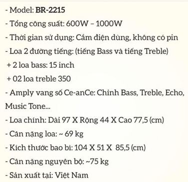 Loa kéo điện vang số Bobos BR-2215