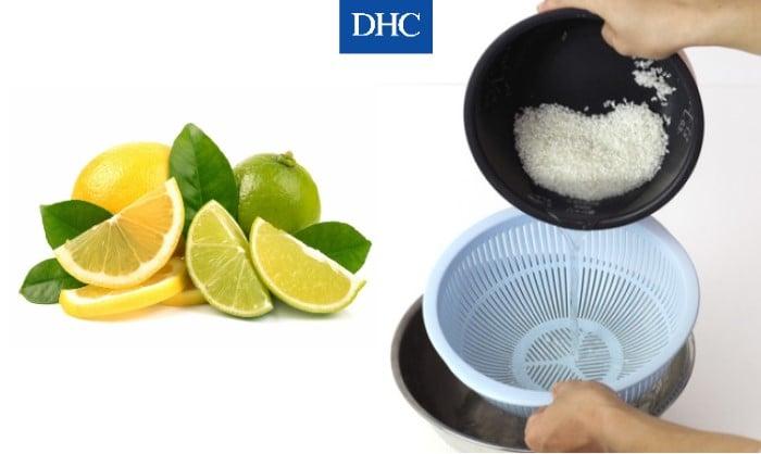 Mặt nạ nước vo gạo và nước cốt chanh làm sạch lỗ chân lông để da không bị mụn