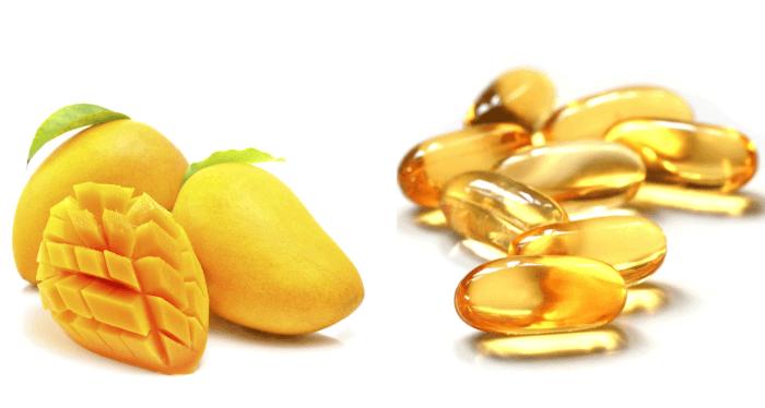 Vitamin E kết hợp cùng xoài giúp da trắng sáng hơn