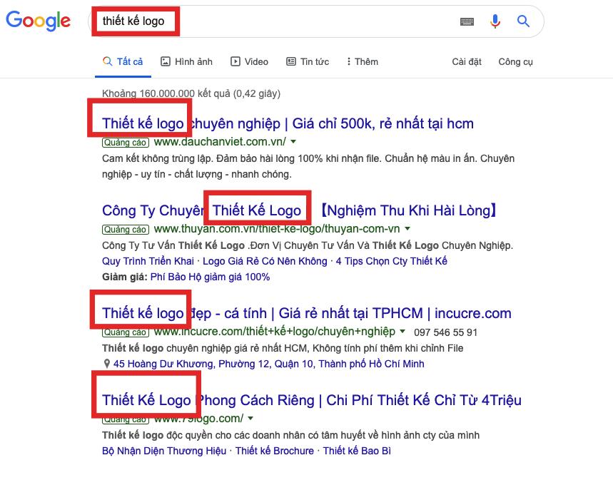 mẫu quảng cáo google search