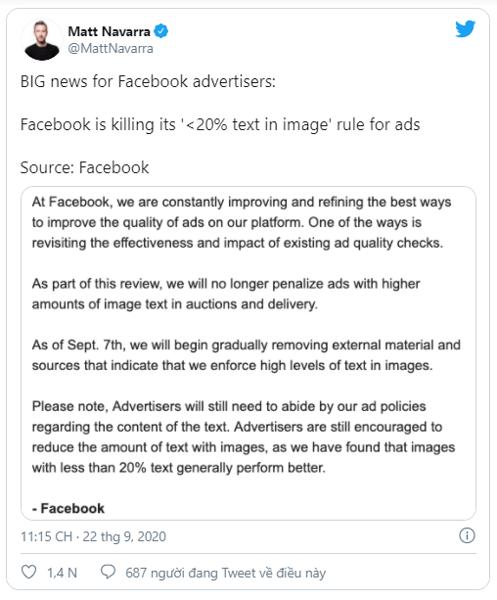 Facebook gỡ bỏ hạn chế 20% văn bản trong các hình ảnh quảng cáo