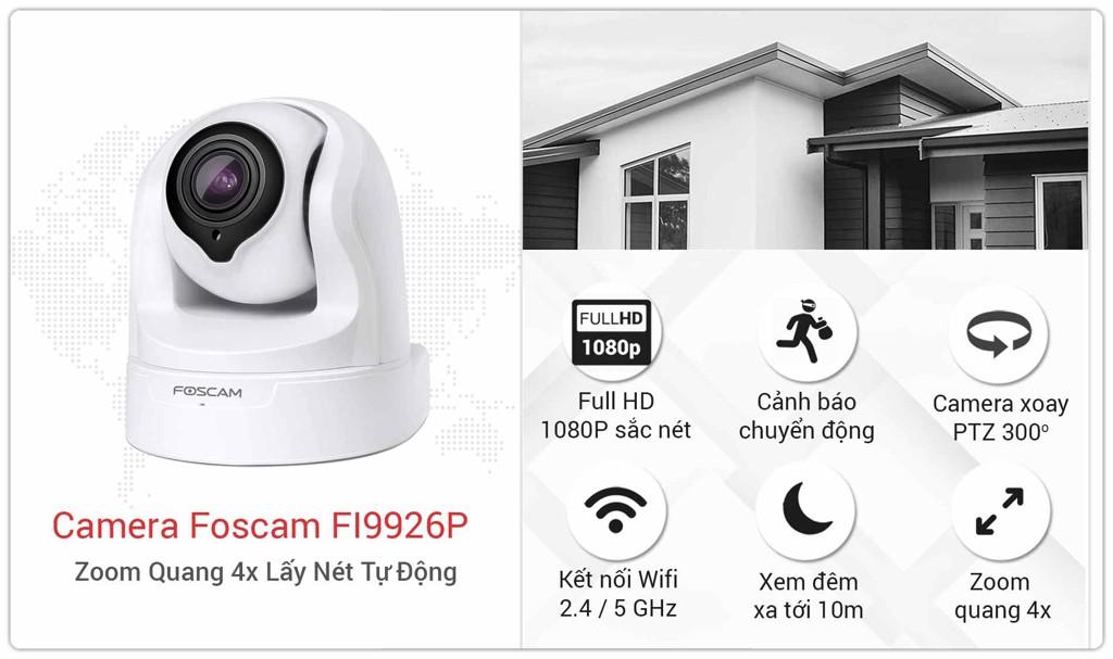 Camera Foscam Trong Nhà FI9926P Zoom Quang 4x lấy nét tự động