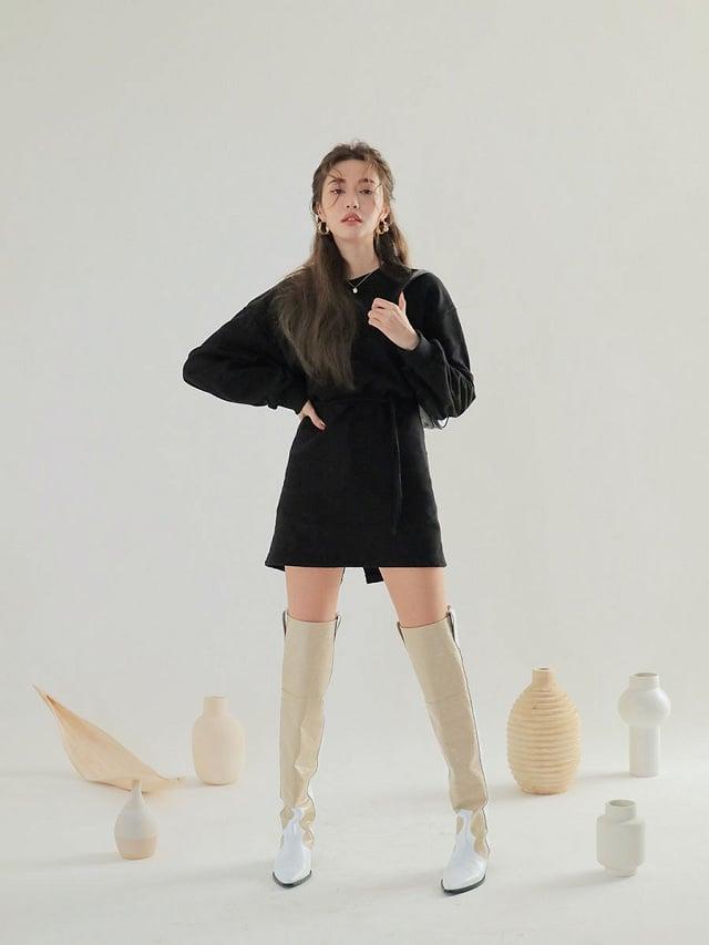 12 Cách phối đồ cho cô nàng 1m55 với các loại váy ôm body ngắn phối cùng giày cao cổ