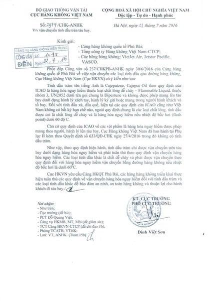 Công văn của Cục Hàng không Việt Nam về quy định mang tinh dầu lên máy bay