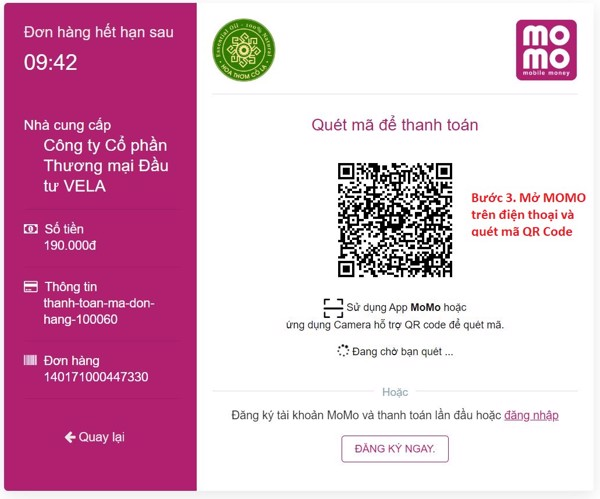 hướng dẫn thanh toán bằng ví điện tử momo khi mua hàng online
