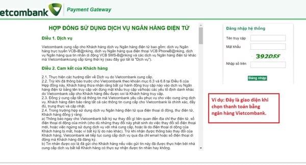 hướng dẫn thanh toán bằng thẻ ngân hàng khi mua hàng online