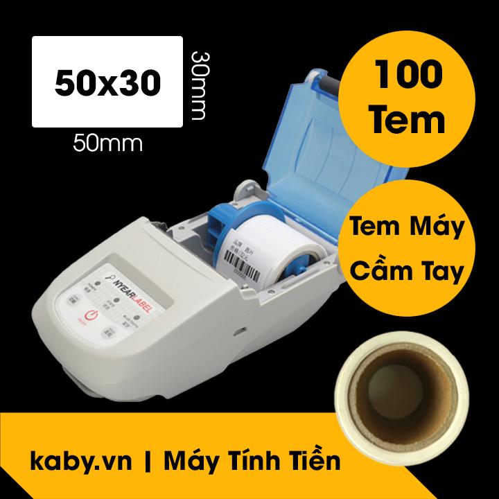 Giấy In Tem 50x30 mm - Tem 5x3 cm Cho Máy In Cầm Tay Bluetooth