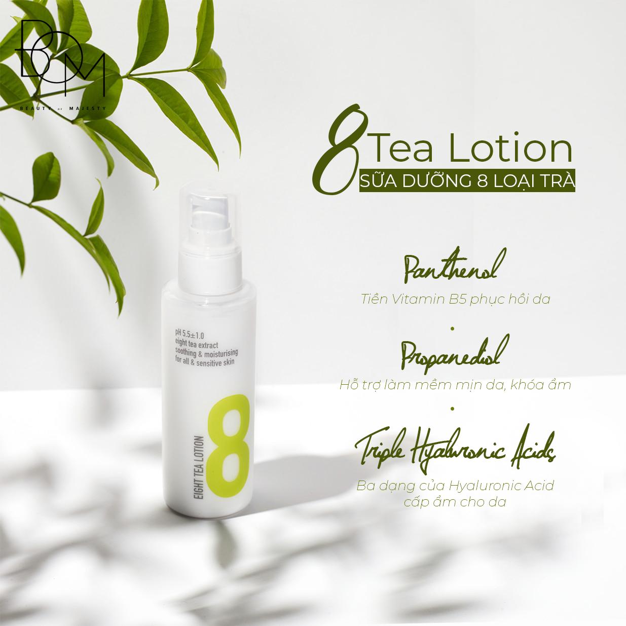 Các hợp chất dưỡng da hiệu quả của Sữa dưỡng 8 Loại trà B.O.M Eight Tea Lotion