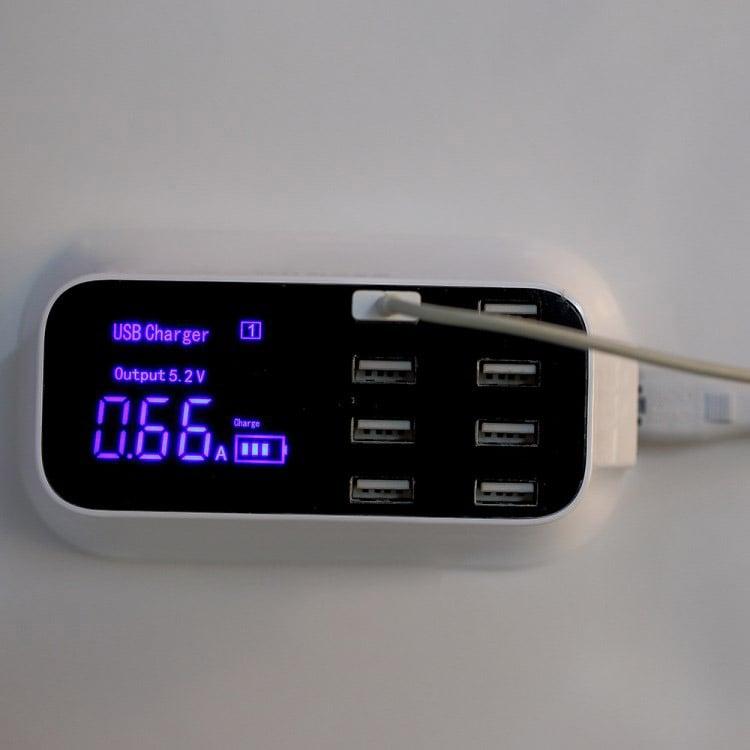 Bộ Sạc nhanh 8 cổng USB hiển thị thông minh cường độ dòng điện, điện áp Aturos YC-CDA19 5V, 8A