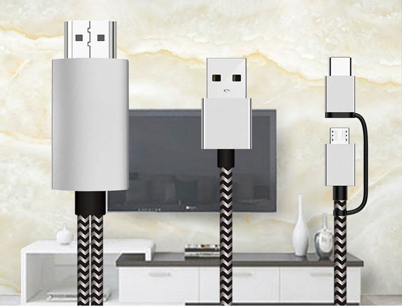 Cáp chuyển đổi hiển thị HDMI Cho điện thoại Android Type C, Micro USB Aturos H8C