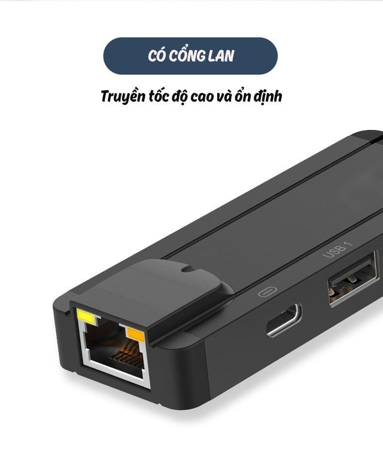 Bộ Dock chuyển Lighting sang cổng mạng LAN RJ45, 2 cổng USB gắn chuột bàn phím kèm cổng sạc Aturos OT75