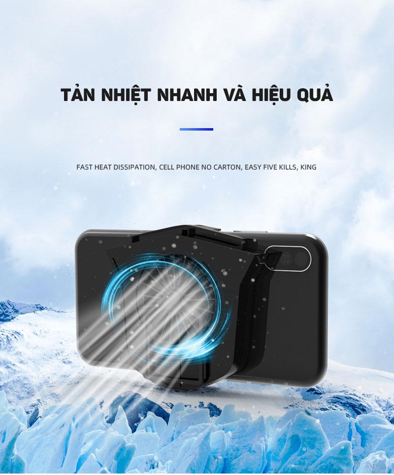Quạt tản nhiệt tích hợp giá đỡ kèm pin cho điện thoại Aturos M5