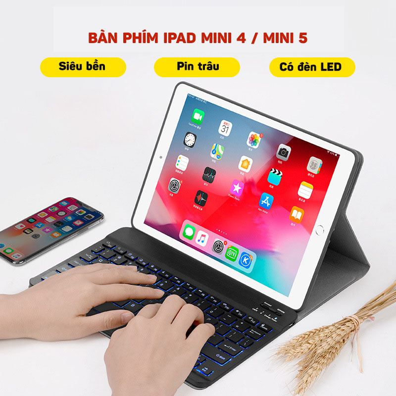Bàn phím bluetooth kèm bao da cho iPad Mini 4/ Mini 5 có đèn led Aturos 1030D (Màu đen)