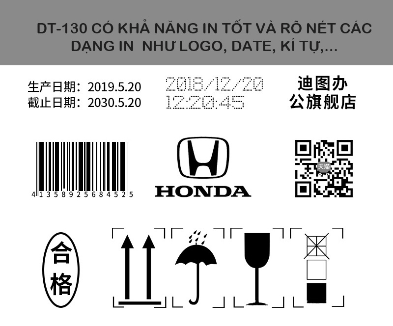 Máy in date mini cầm tay Promax DT-130Mini in logo, in hạn sử dụng, in mã qr, barcode