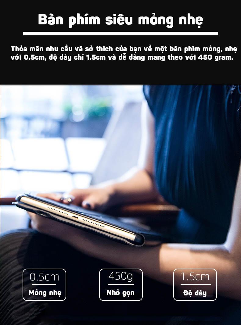 Bàn phím Bluetooth cho iPad 9.7/2018/2017/Air2/Air10.5/Pro 10.5 có touchpad kèm bao da Promax T1091