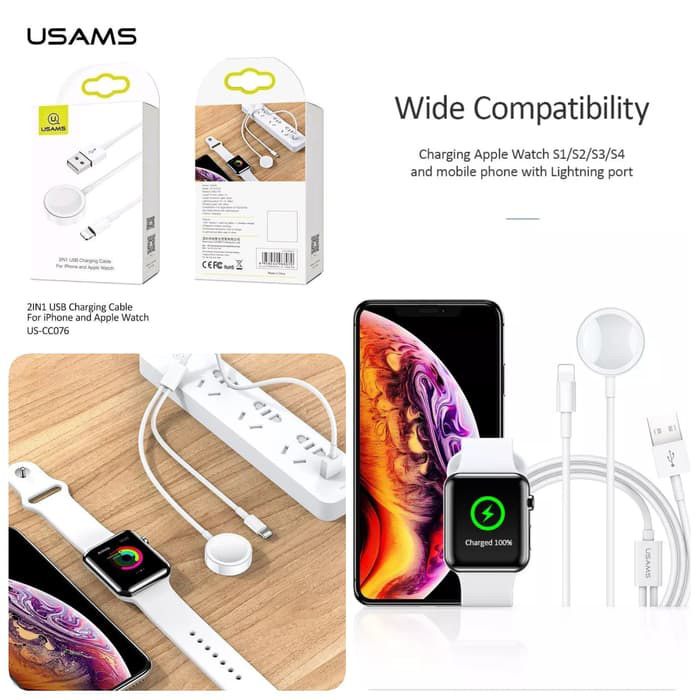 Cáp sạc cho iPhone, Apple Watch 2 trong 1 USAMs US-CC076 2IN1 USB Charging Cable