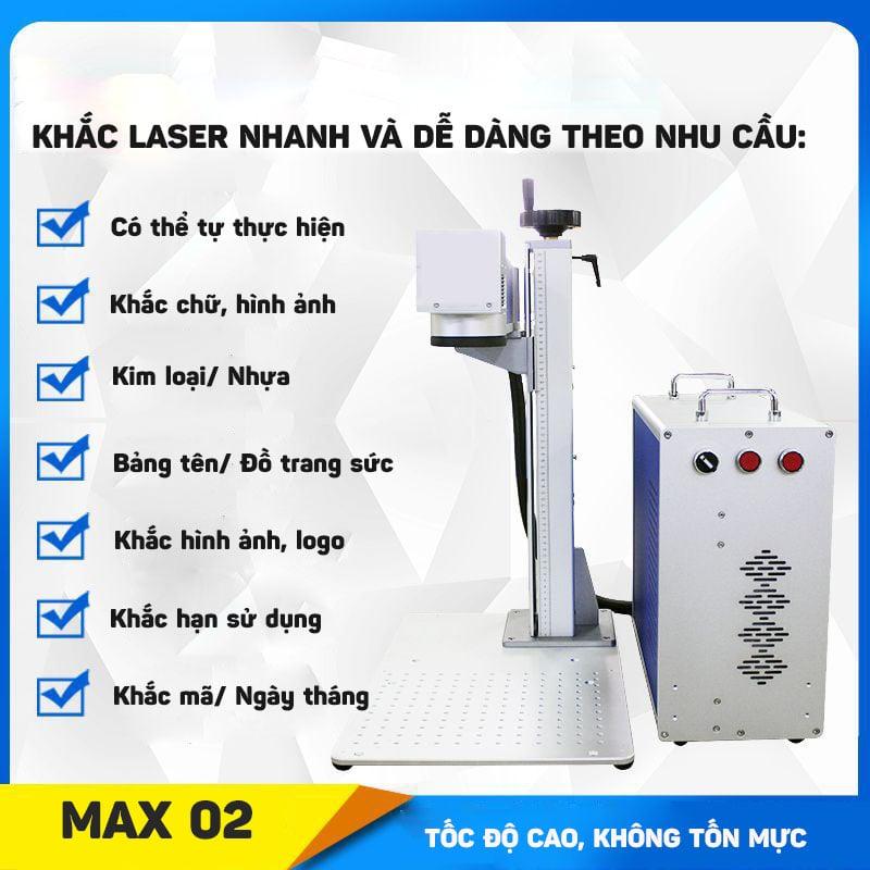 Máy khắc laser fiber trên nhiều chất liệu Aturos MAX 02 khắc logo, hình ảnh, date, hạn sử dụng (20W, 30W)