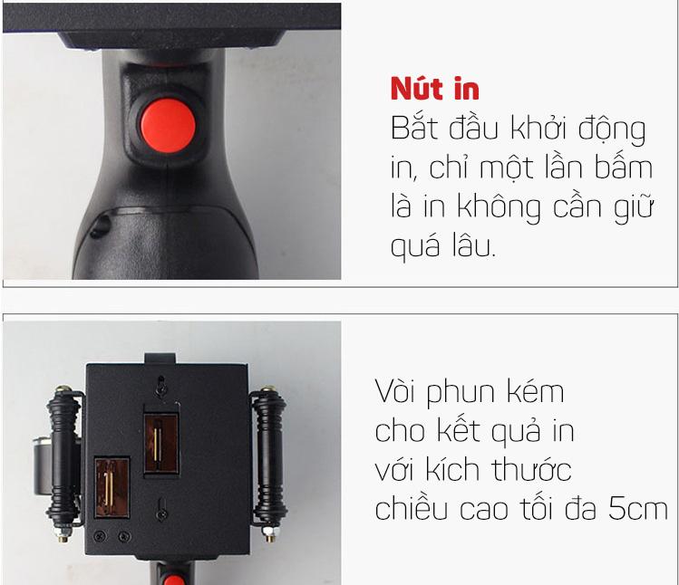 Máy in date mini cầm tay in date, in logo, in số lô, ngày sản xuất, hạn sử dụng Promax Printer T5 50mm (Có hỗ trợ tiếng Việt)