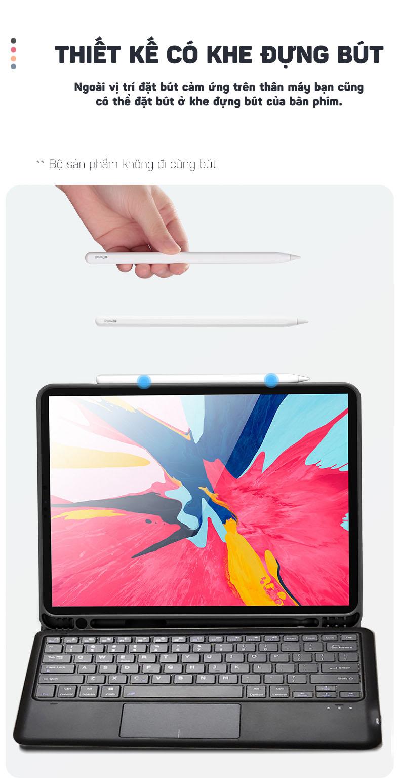 Bàn phím bluetooth kèm bao da tích hợp touchpad cho iPad Pro 12.9 2018/2020 Aturos HK131C