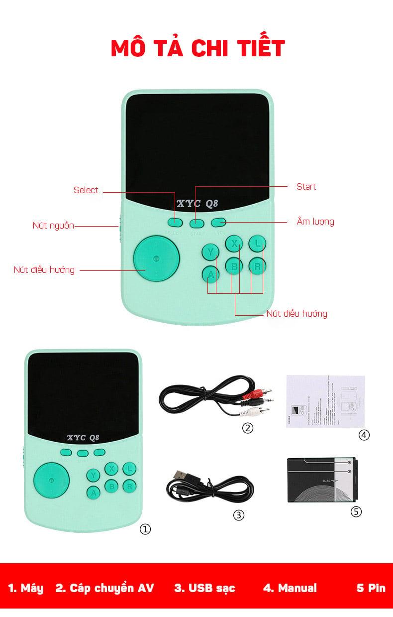 Máy chơi game 4 nút mini cầm tay với hơn 506 game cổ điển Aturos XYC Q8 (màu đen)
