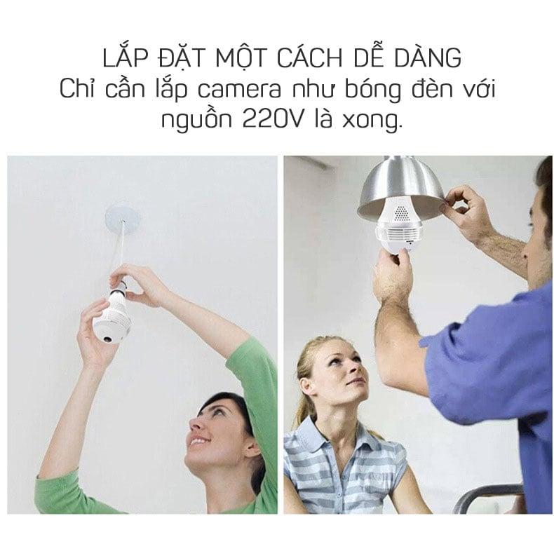 Camera quan sát 360 hình bóng đèn Wifi Panorama Camera Aturos B13LN, Lightning 130W, kết nối không dây