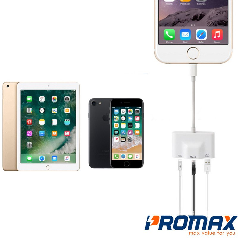 Adapter Lightning Ethernet USB RJ45 cho iPhone/ iPad giá rẻ