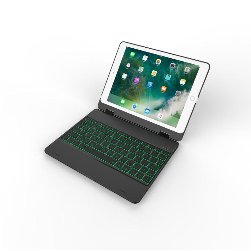 Bàn phím Bluetooth cho iPad Air 2 , Pro 9.7, iPad 2018, iPad 2017 Promax F181/F19 (Biến iPad thành Macbook) có đèn kèm bao da case tách rời - Đen