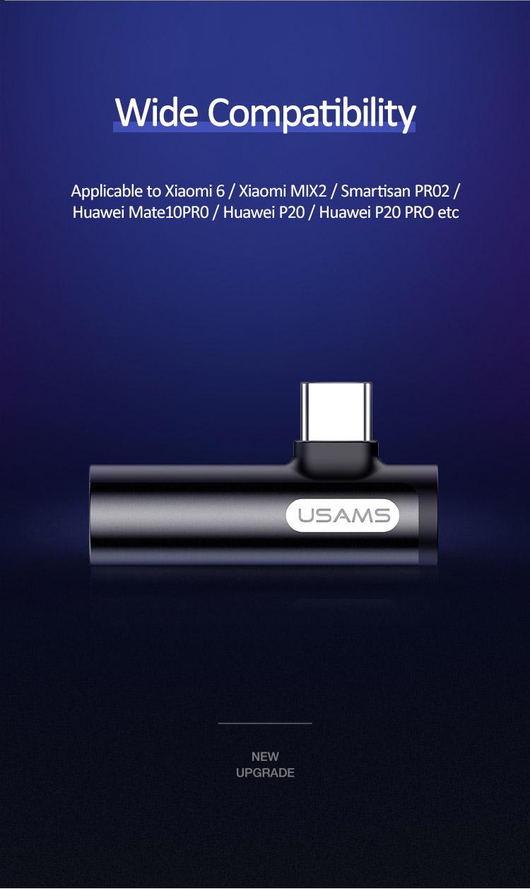 Củ sạc tích hợp bộ chuyển đổi tai nghe US-SJ277 Type-C+3.5mm Audio Adapter (Black)