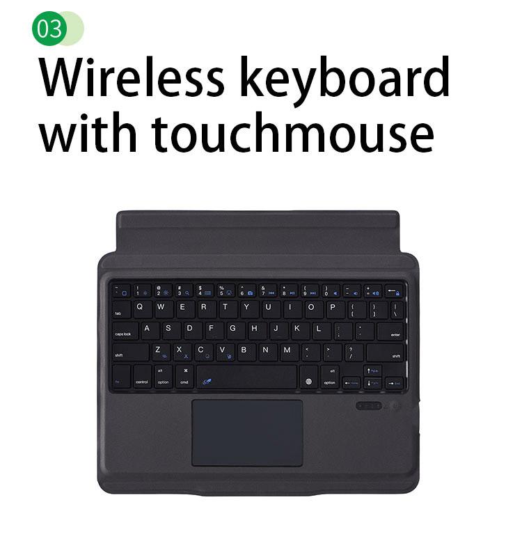 Bàn phím Bluetooth cho iPad 10.2 kèm bao da có thể tách rời, có touchpad Aturos T1095