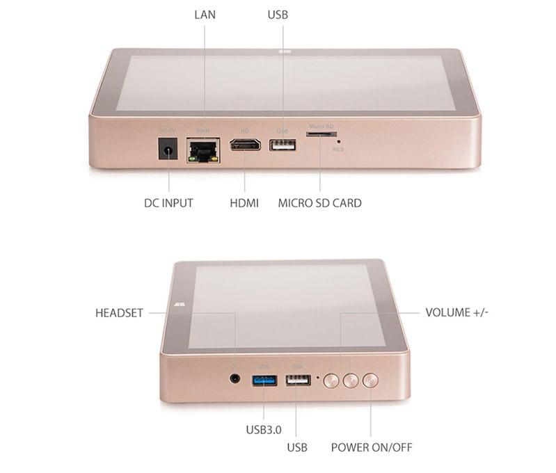 Máy tính bảng windows 10/ Android Mini PC Gole One Plus 8 inch (Chip X5/ RAM 4G/SSD 64GB/RJ45/5USB)