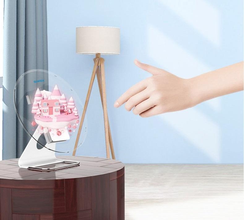 Quạt đèn LED 3D để bàn quảng cáo hình ảnh sản phẩm 3 chiều Promax AD30, có pin