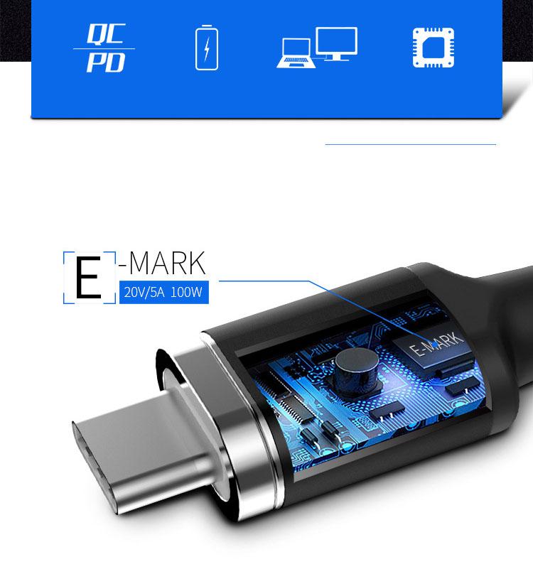 Cáp nam châm Type C dài 1.8m cho điện thoại, Laptop nguồn 86W Promax Magnetic Cable