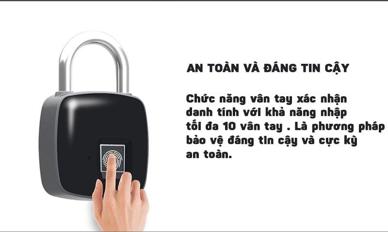 Ổ khóa vân tay điện tử chống trộm thông minh có USB sạc Aturos P65