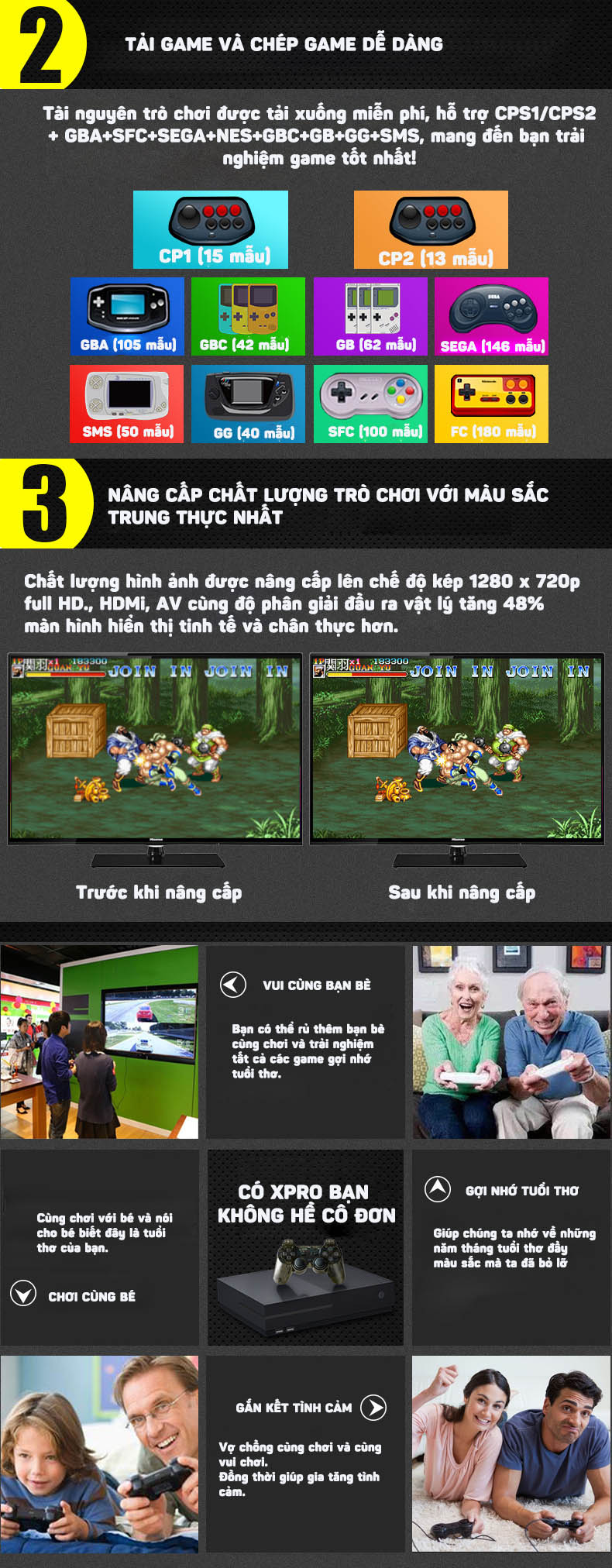 Máy chơi game 4 nút Aturos X Pro tích hợp 800 game cổ điển, hỗ trợ chép game bên ngoài, hỗ trợ 4K, chơi game Arcade (NES, GBA, FPS, SFC...) - Màu đen
