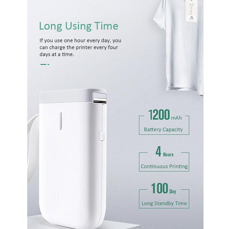 Máy in nhiệt tem nhãn mini điều khiển qua điện thoại Aturos D11 (Khổ 12mm) - Tặng kèm 2 cuộn giấy in