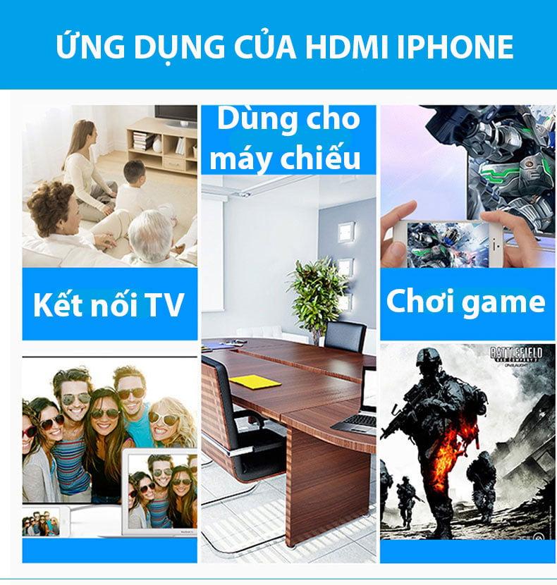 Cáp chuyển đổi HDMI cho iPhone, iPad tích hợp cổng sạc Lightning