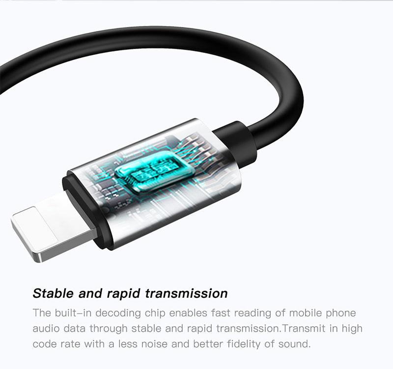 Cáp chuyển đổi Baseus L32 IP sang 3.5mm + cổng sạc cho iPhone (Black)