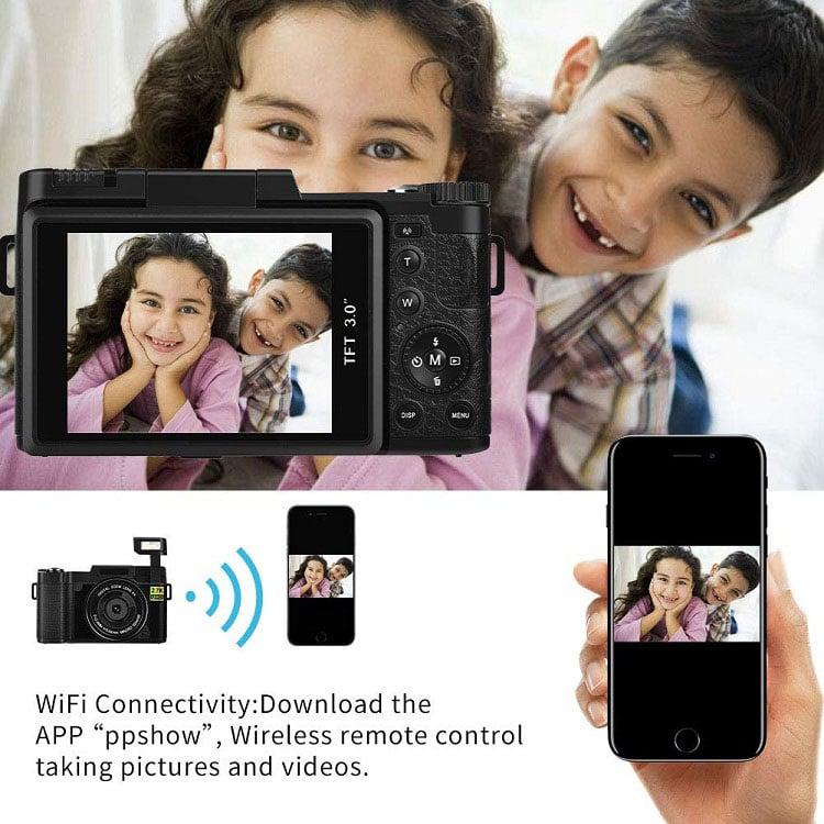 Máy ảnh kĩ thuật số mini tích hợp máy quay phim Aturos ES-CDRW Vlog 2.7K Ultra HD, Màn hình lật 180 độ, 3 inches, kết nối wifi
