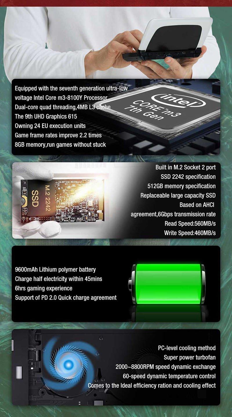 Máy chơi game cầm tay Laptop mini PC GPD WIN 2(2021) Chip Core M 8100, RAM 8GB, SSD 256GB, 6 inches IPS, Intel Core M3-8100Y, Windows 10
