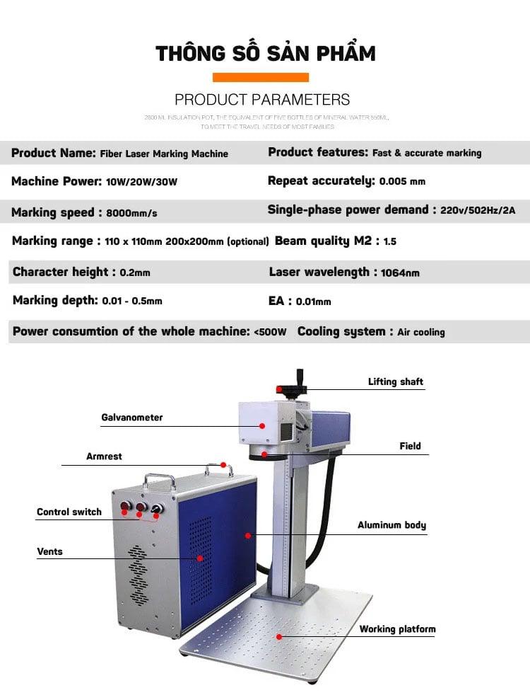 Máy khắc laser fiber trên nhiều chất liệu Aturos MAX 02 khắc logo, hình ảnh, date, hạn sử dụng, mã vạch, mã QR (20W, 30W)