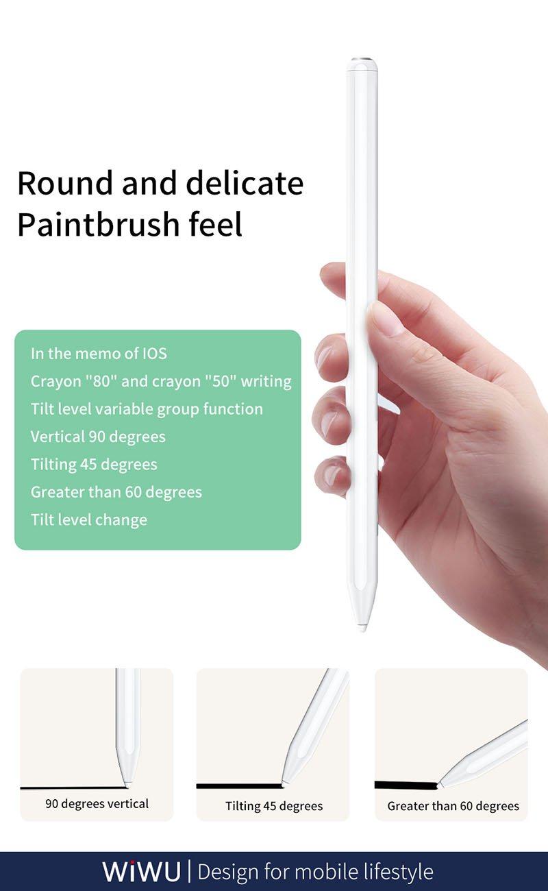 Bút cảm ứng stylus chống tì tay cho iPad WiWu Pencil Pro (viết vẽ nghiêng hơn 60 độ, chống tì tay như Apple Pencil, hút nam châm)
