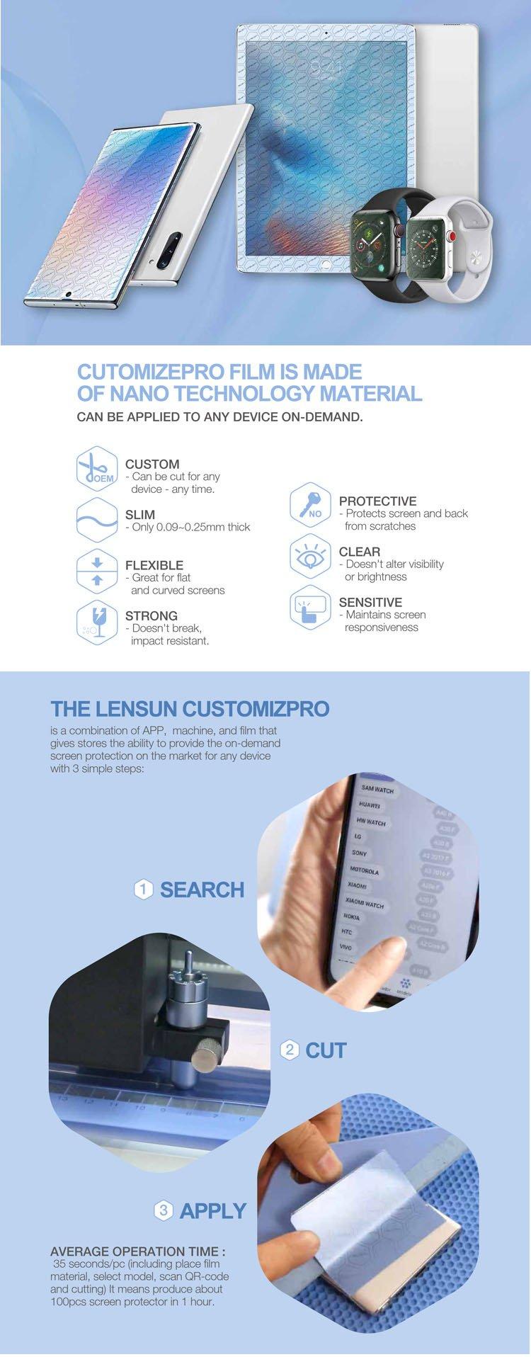 Máy cắt miếng dán cường lực dẻo PPF Nano Lensun CustomizPro+(từ 4 inch-12.9 inch)