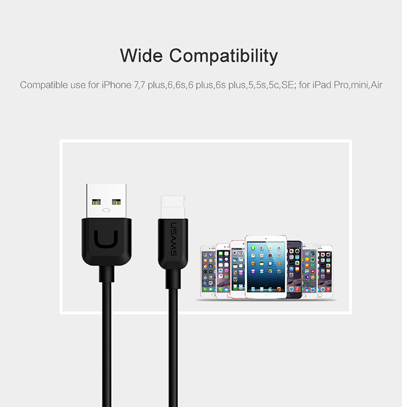 Cáp sạc nhanh USAMS cho iPhone, iPad, Samsung Data Cable-U Turn Series 0.25m