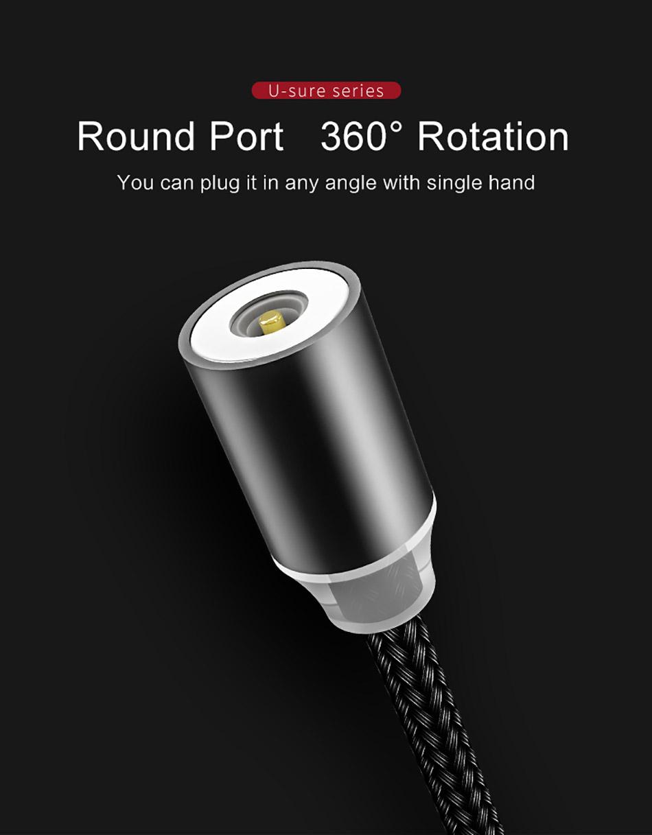 Cáp nam châm sạc nhanh Lightning US-SJ292 1m, 2.1A cho iPhone